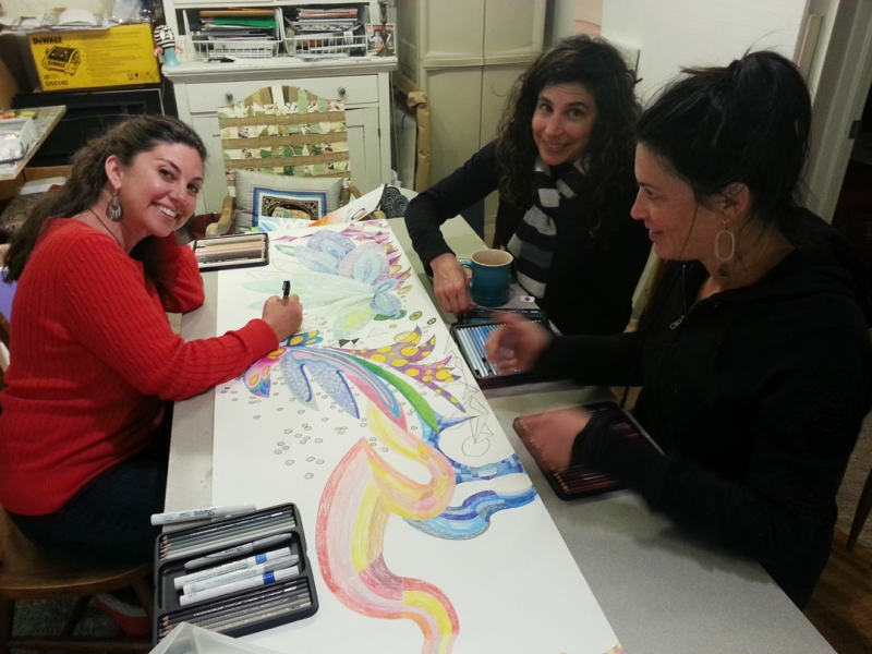 Working in the studio (left to right: Angela Beloian, Jessica Moon Bernstein, Julie Maren) 2014