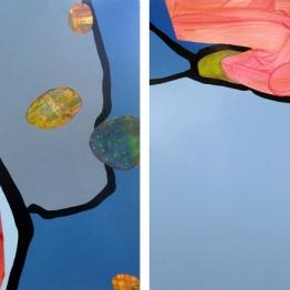 "Batia, acrylic on 2 panels, 48"" x 30"""