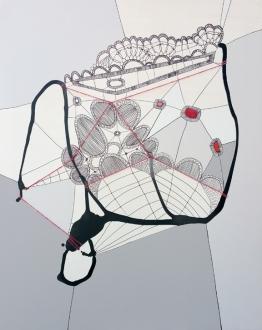 """Drift"", yarn, ink, Sharpie and latex on sewn panel, 32"" x 40"", 2015"