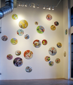 Installation at Walker Fine Art, Color Studies, ink and latex on found fabrics on found drum rims, various diameters