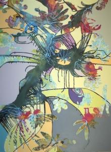 "Mantis, spray paint and latex on found fabrics, 44"" x 60"""