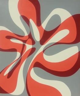 "Orange Wave, acrylic and latex on canvas on panel, 40"" x 48"", 2014"