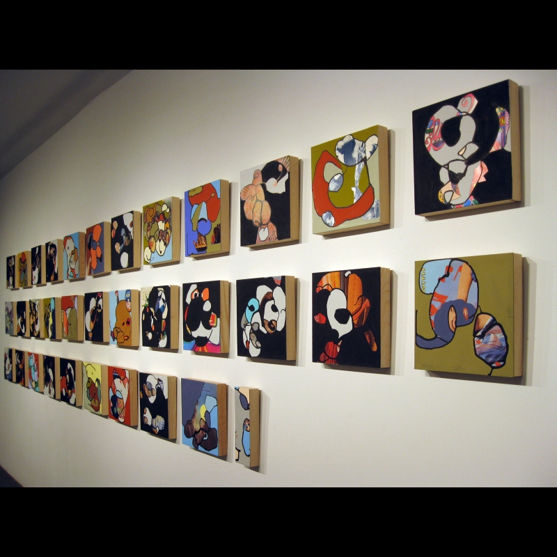 Superstar, installation at the Art League in Houston, Texas, 2009. ink and gouache on found album covers,