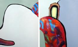 """Emily, acrylic on 2 panels, 48"""" x 30"""""""