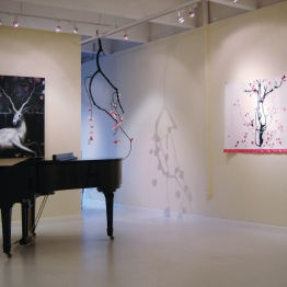 "Installation: painting on left by Julie Maren; center ""Pink Rain (mobile)"" tree branch, paper, ink; right ""Pink Rain (scroll)"", paper, fabric, ink, wood"