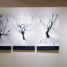 Installation: left, scrolls on paper with ink and fabric; right, sculpture by Julie Maren