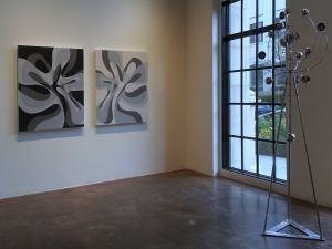 Installation at Walker Fine Art, Wave Light/Dark, acrylic and latex on canvas on 2 panels, each 40