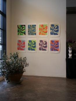 Installation at Walker Fine Art, silkscreen on Rives BFK paper