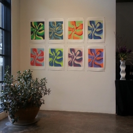 Installation at Walker Fine Art, silkscreen on Rives BFK paper