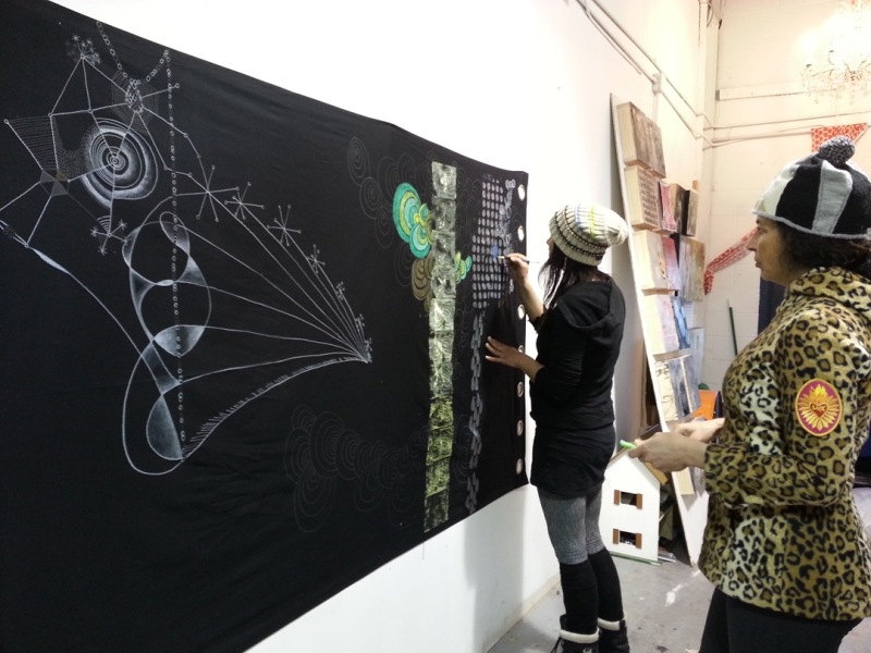 Working in the studio (left to right: Julie Maren, Jessica Moon Bernstein) 2015