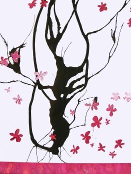 Detail of Pink Rain scroll, cut paper, ink, fabric