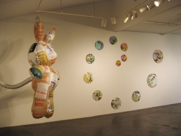 String, found fabric and paint on found drum rims, Rabbit by Jessica Moon Bernstein, made from found plastic bags