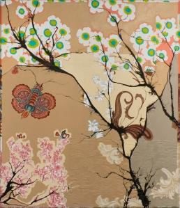 "Urban Summer, 43"" x 50"", ink and latex on found fabrics"