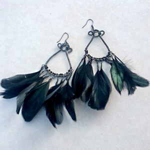 "Feather Duster Earrings $200 Black feathers, glass beads and steel approx. 2.5""w x 4""L"