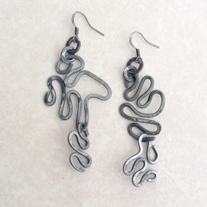 "Ramen Earrings $50 Steel approx. 1.25""w x 2.25""L"