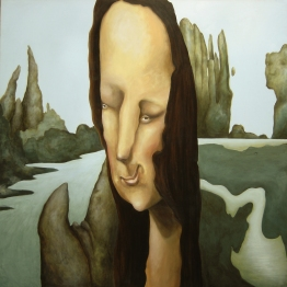 """Diverging Streams of Thought,"" 48"" x 48"", acrylic on wood panel, 2005"