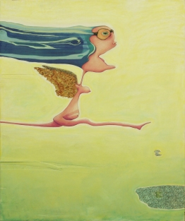 """Full Speed Ahead,"" 30"" x 36"", mixed media on wood panel, 2005"