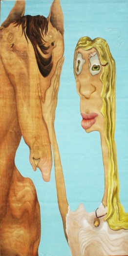 """True Love,"" 24"" x 48"", acrylic and colored pencil on wood panel, 2004"
