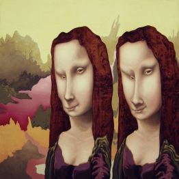 """""""Twins,"""" 48"""" x 48"""", acrylic on wood panel, 2005"""