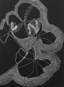 """Geranium,"" Silver Sharpie paint pen on black paper, 22"" x 30"""