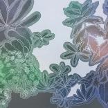 """Cosmos II,"" acrylic, spray enamel and silver paint pen on panel, 24"" x 36"", 2020"