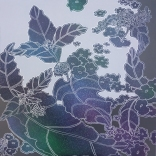 """Lantana,"" acrylic, spray enamel and silver paint pen on panel, 24"" x 24"", 2020"